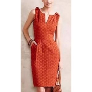 Anthropologie Tabitha Orange Basket Weave Dress